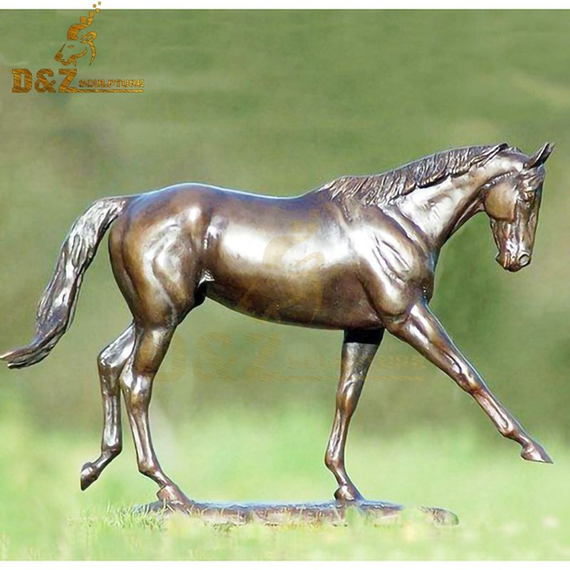 High quality golden lawn decoration bronze walking horse statue for sale