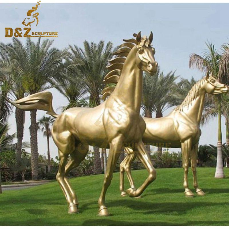 High quality golden running horse bronze statue garden decoration for sale