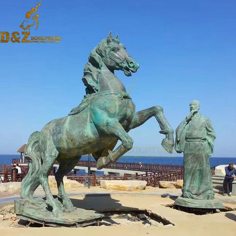High quality antique outdoor bronze horse and man statue for sale