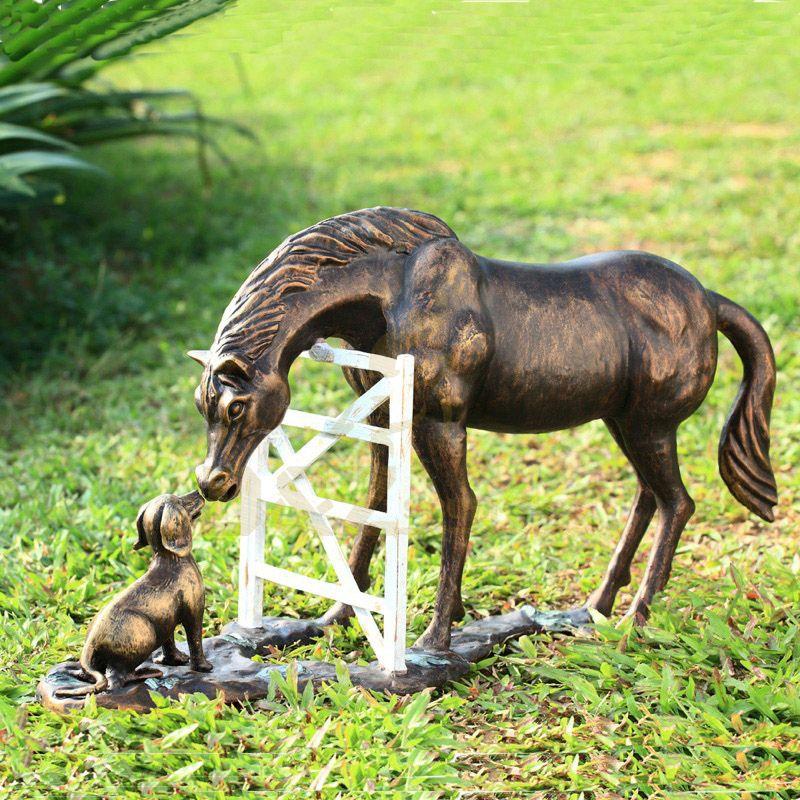 Metal casting garden decoration horse and dog friendship sculptures for sale