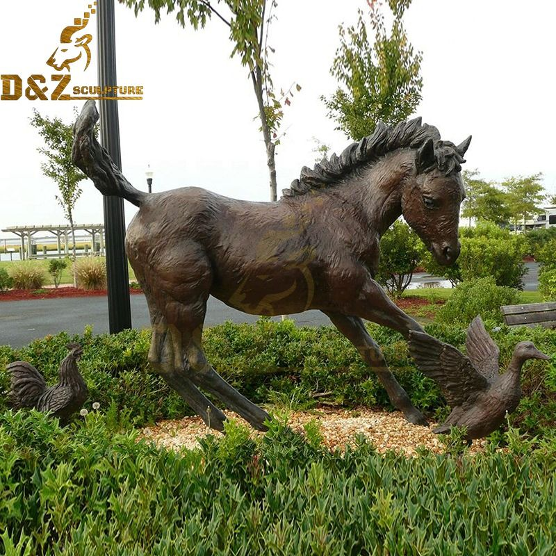 Factory wholesale park decoration friendly brass horse sculpture for sale