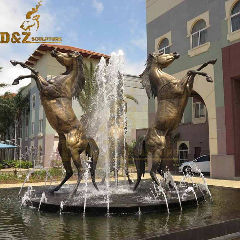 Outdoor large three horses fountain sculpture decorations for sale