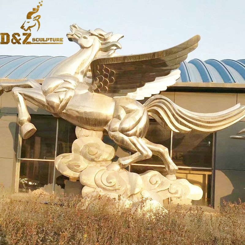 Hot sale large modern design metal white pegasus bronze statue with white clouds