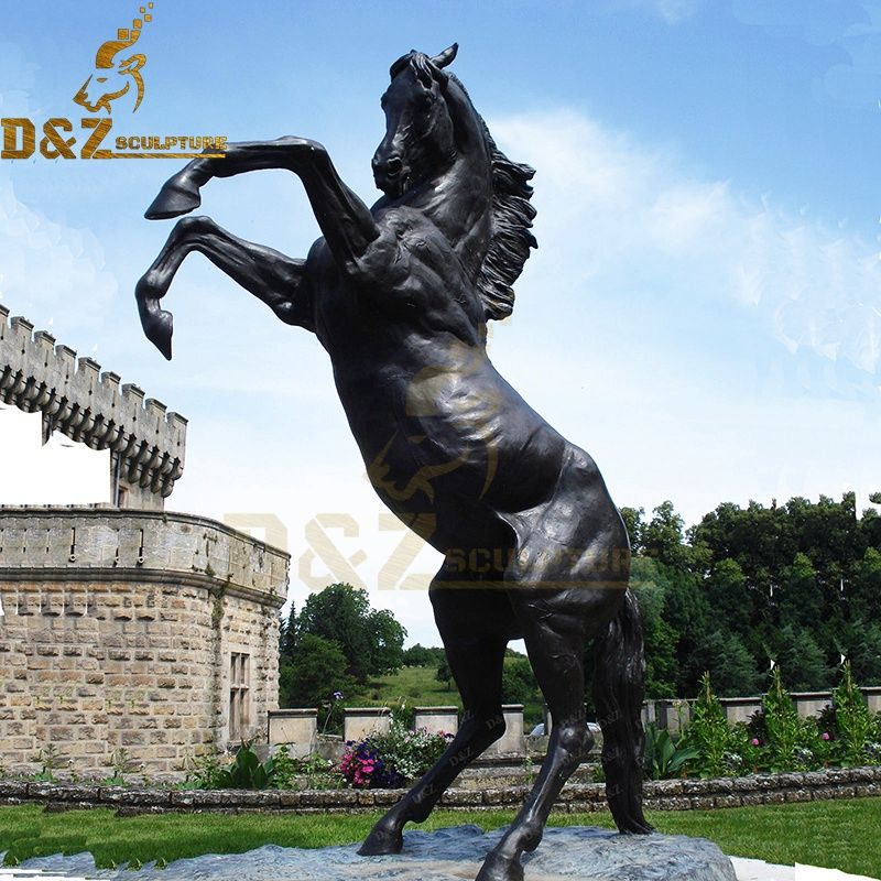 Large size metal animal sculpture bronze horse jumping statue for sale