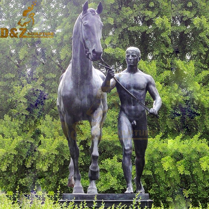 Garden decoration sculpture bronze Der Rosselenker and horse sculpture for sale