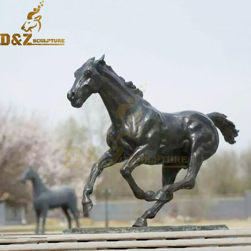 Garden decoration life size animal sculptures bronze running horse sculpture