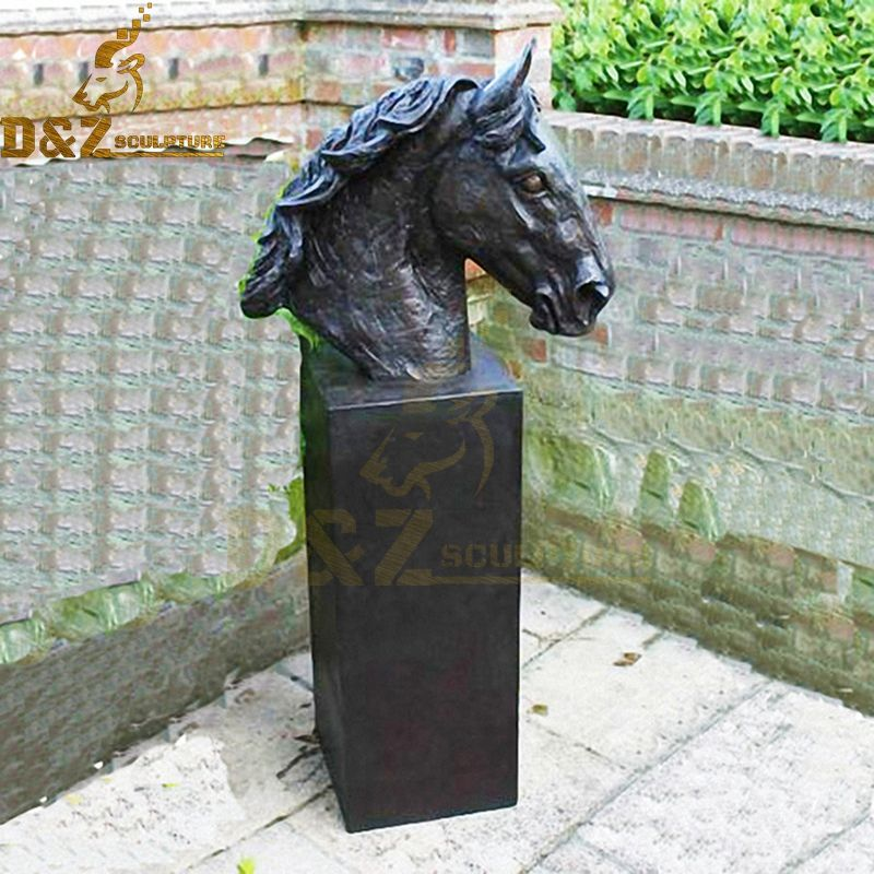 Life-size bronze horse head sculpture garden decoration for sale