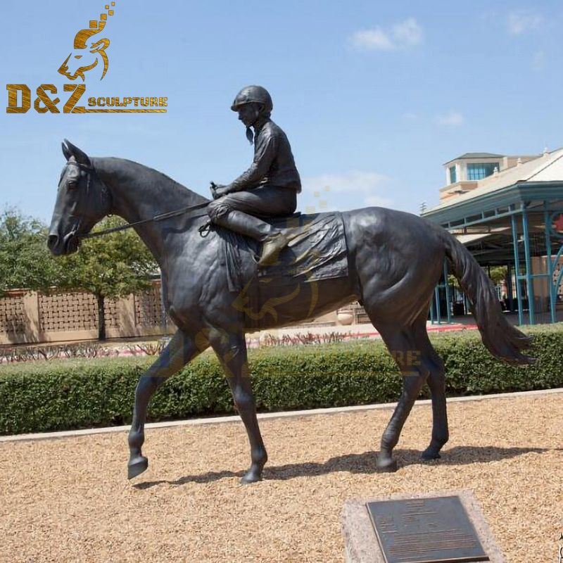 Life Size Bronze Racing Horse with Jockey Statue Design Horse Garden Sculpture for Sale