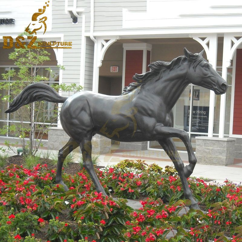 Outdoor life-size bronze horse running sculpture garden decoration for sale
