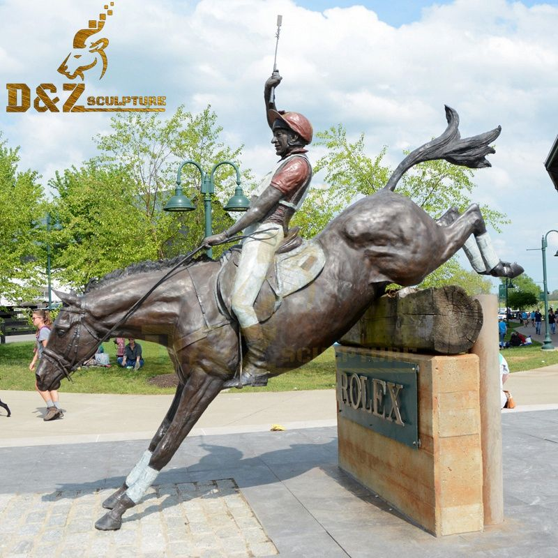 Hot sale beautiful outdoor life-size bronze horse and jockey sculpture