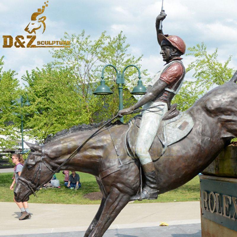 horses racing statue