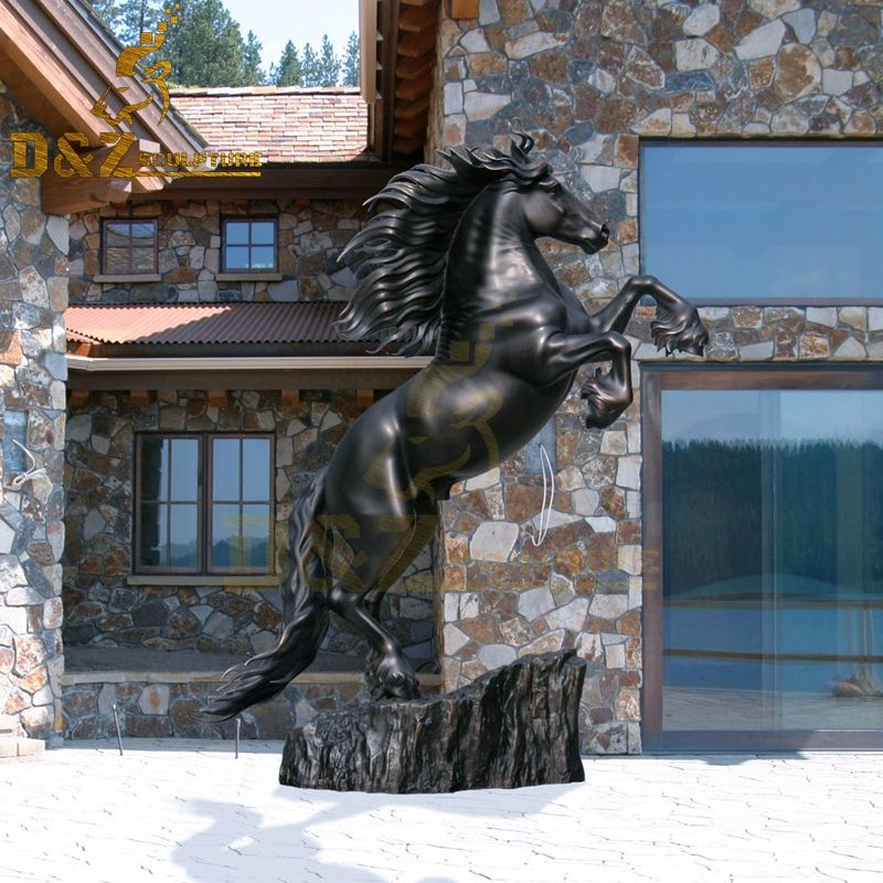 Customized life-size black bronze jumping horse statue for sale