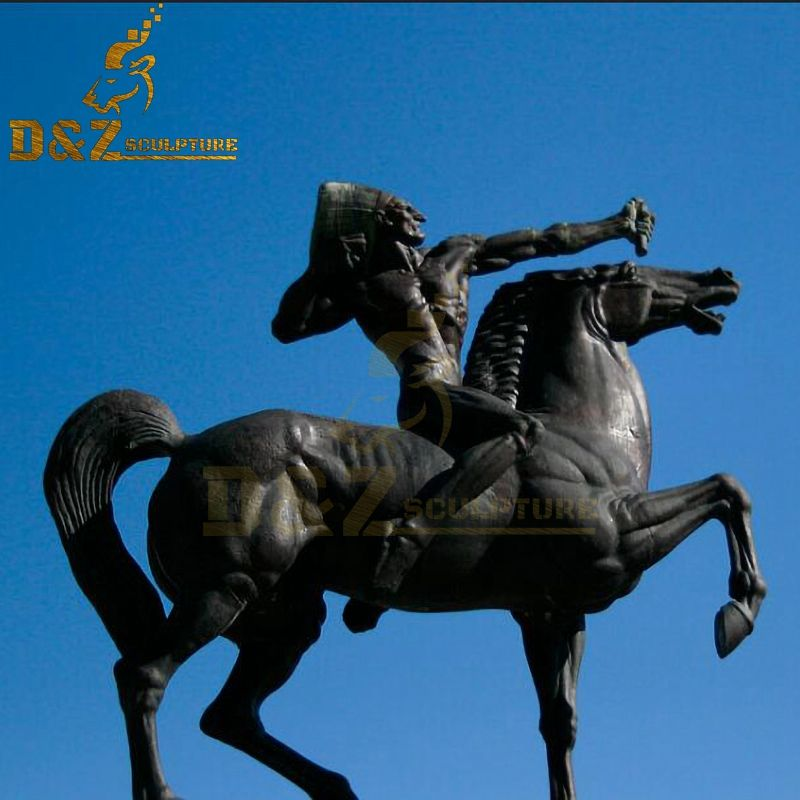 Outdoor famous Indian with a bow bronze statue on horseback for sale