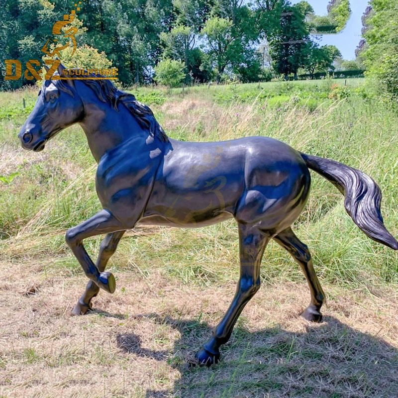 High quality outdoor bronze horse with one leg raised statue for sale
