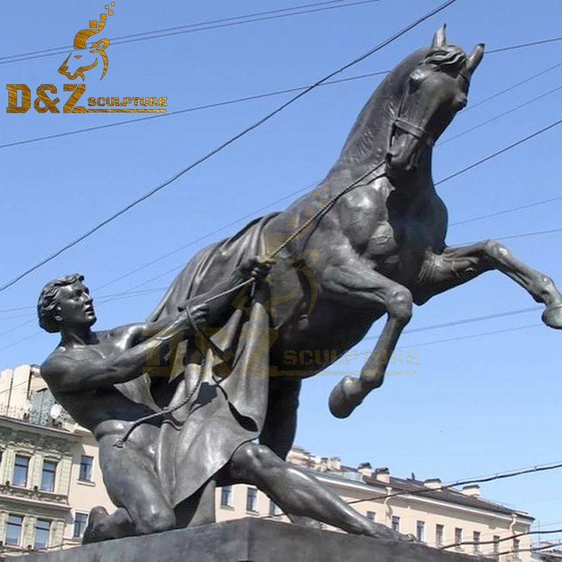 Famous Western Design Bronze Horse Trainer Leading Horse Sculpture for Sale