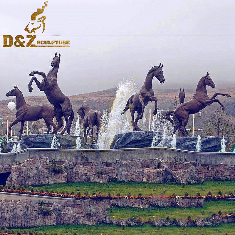 Large animal garden decoration bronze horse fountain artwork for sale