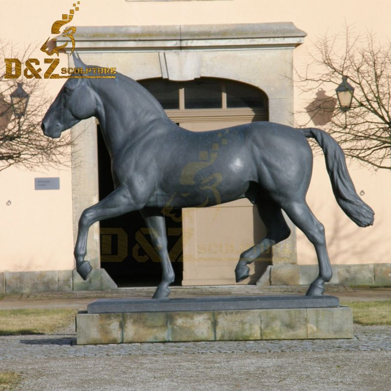 Factory wholesale garden decoration bronze leg raising horse sculpture for sale
