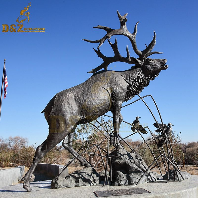 Large metal outdoor elk sculpture garden decoration for sale