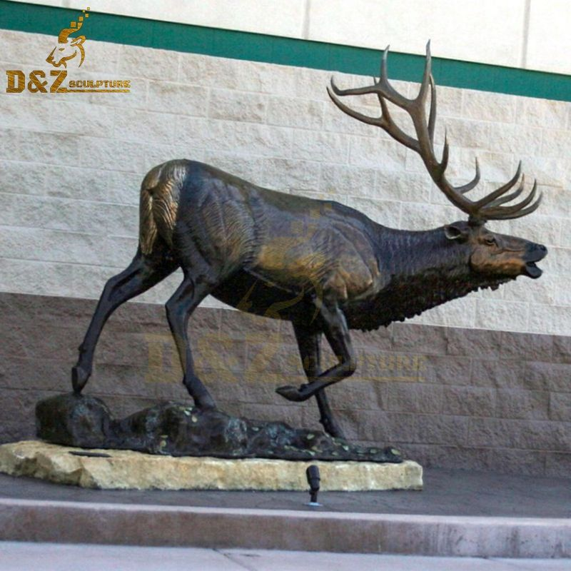 Hot sale new design howling elk bronze sculpture for garden decoration
