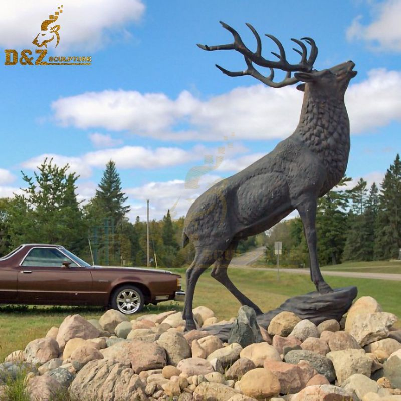 Western design life-size bronze outdoor elk statue animal artwork decoration