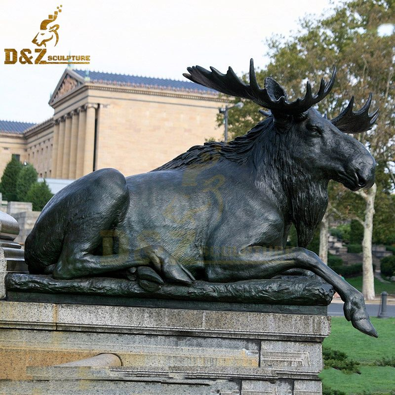 High quality metal animal sculpture bronze moose statue garden decoration for sale