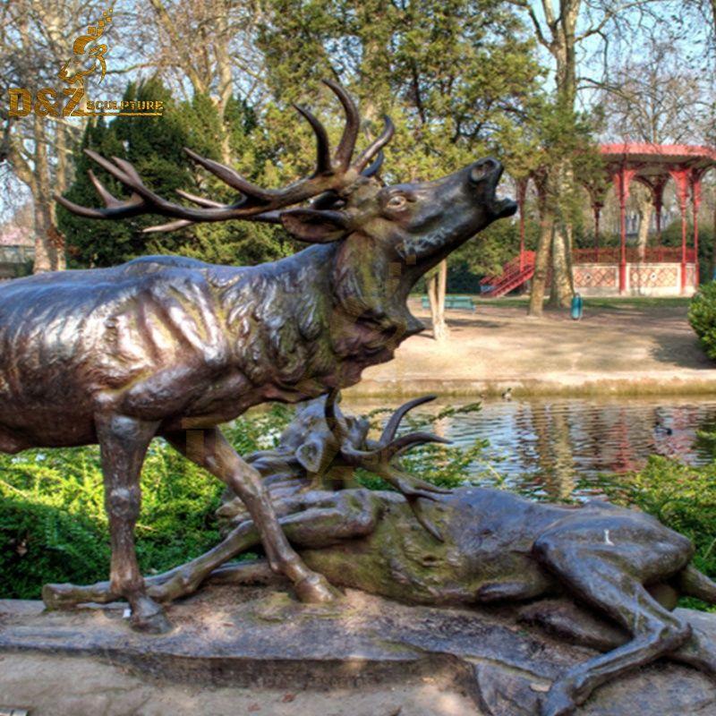 outdoor metal deer statue