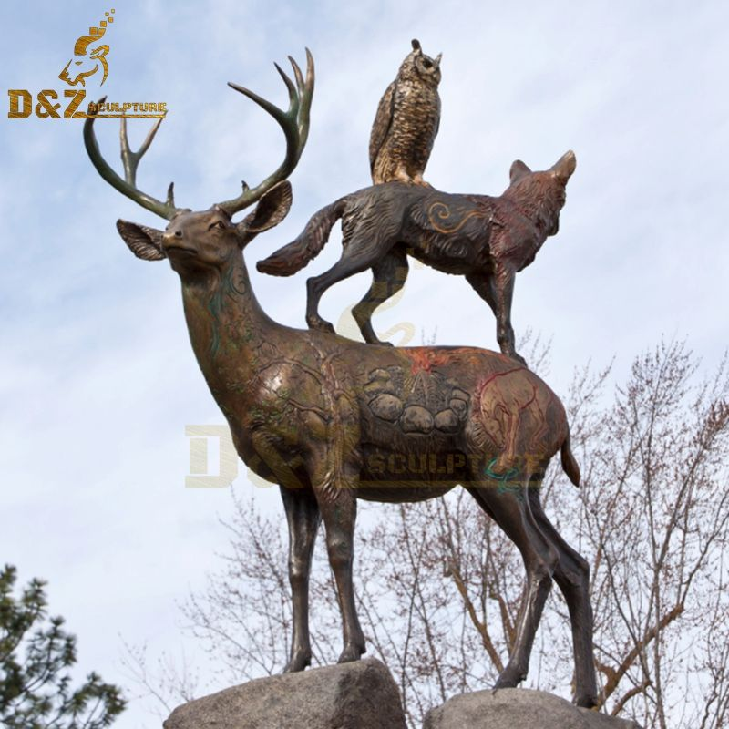 Hot sale life-size deer sculpture with monkey owl sculpture on the back