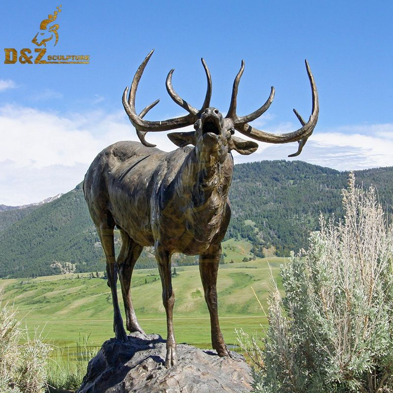 Real-size garden sculpture bronze elk statue artwork for sale