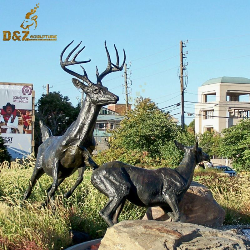 Lawn ornament high quality bronze running deer sculpture for sale