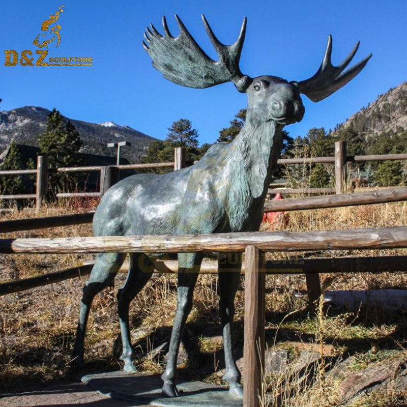 Customized garden metal sculpture full size bronze moose statue for sale