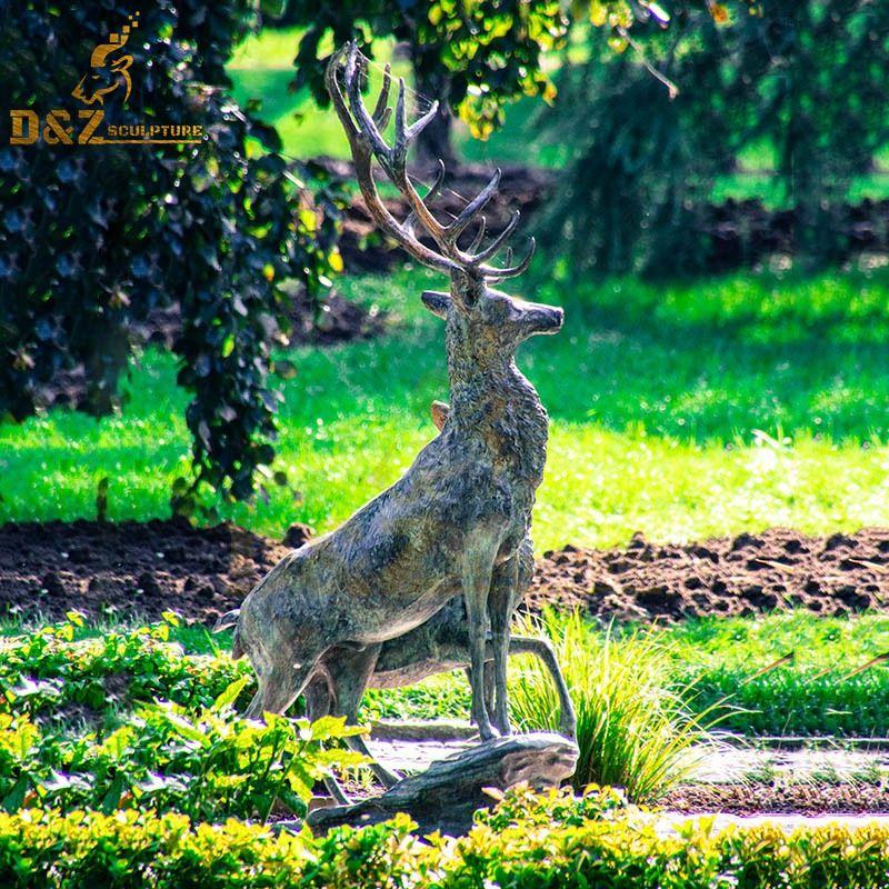 Hot sale new design bronze elk sculpture garden decoration artwork