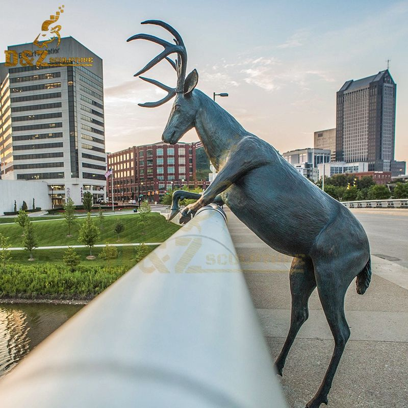 Newly designed bronze outdoor deer sculpture standing on the bridge for sale