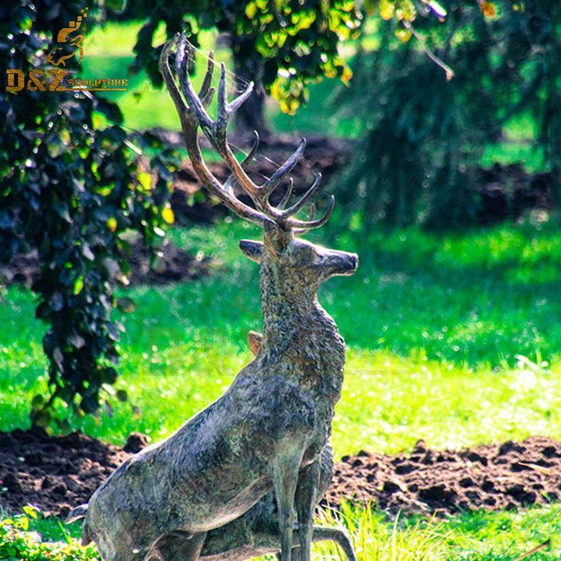 large bronze elk statue