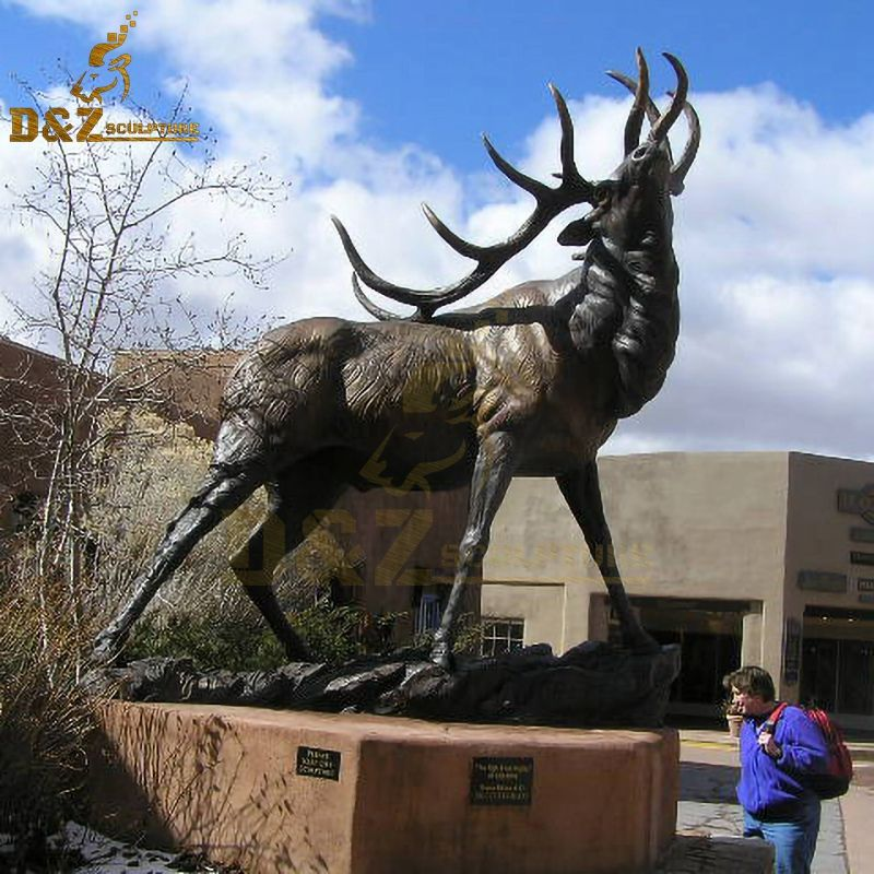Western design animal metal large garden elk sculpture
