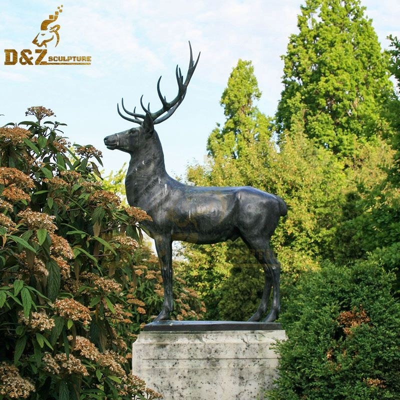 Hot sale animal metal sculpture bronze deer garden statue artwork