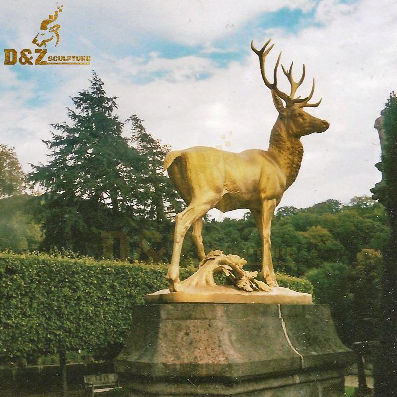 Custom High quality garden metal golden deer sculpture for sale