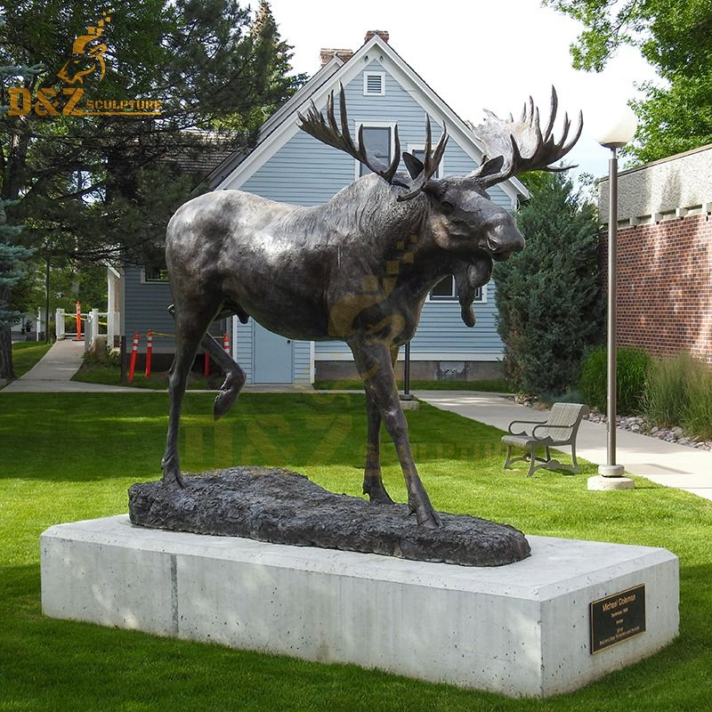 Life size outdoor moose metal sculpture decor for sale