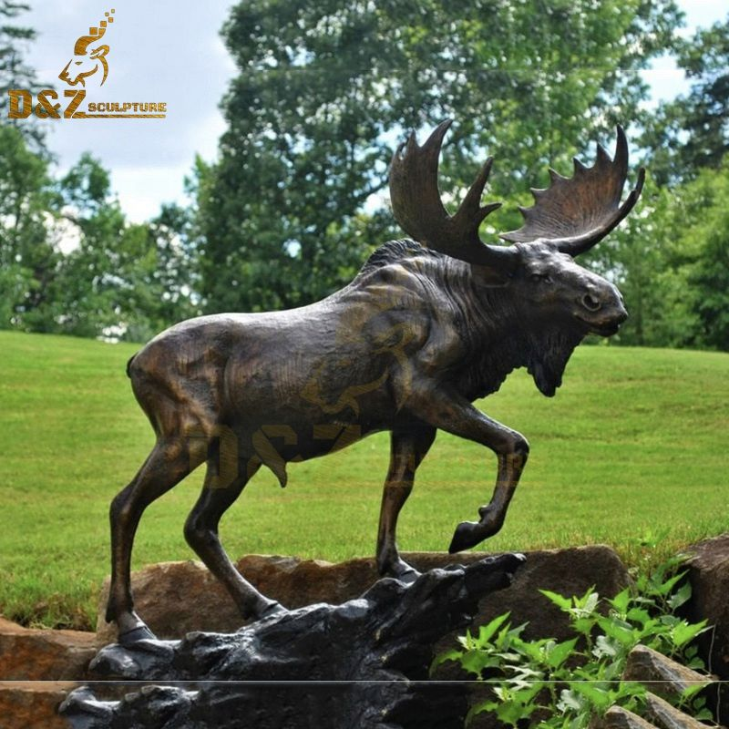 Garden large art deco outdoor metal moose sculpture for sale