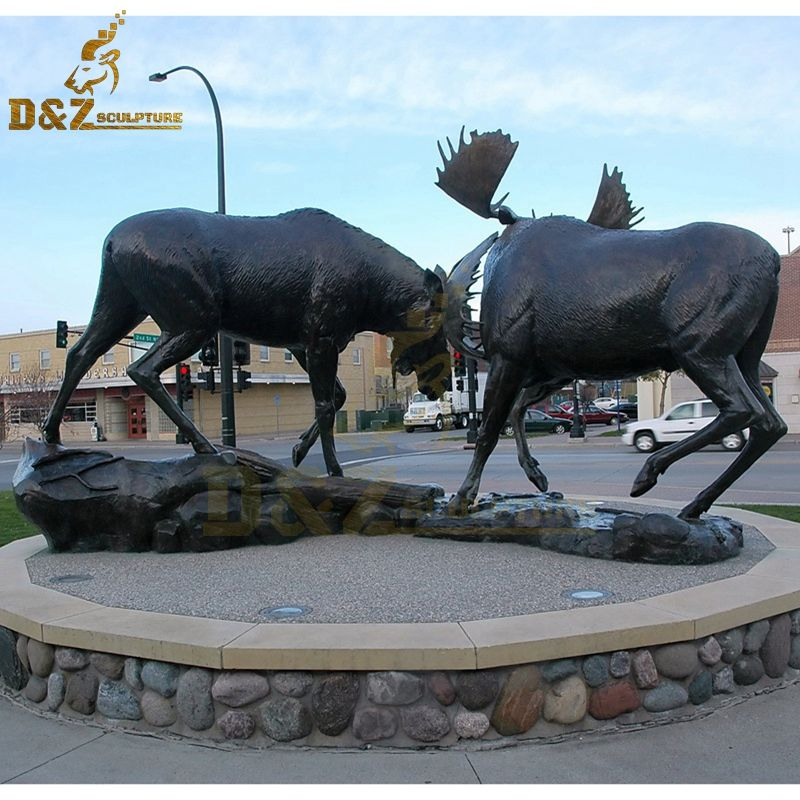 Western design outdoor large bronze two moose fighting statue