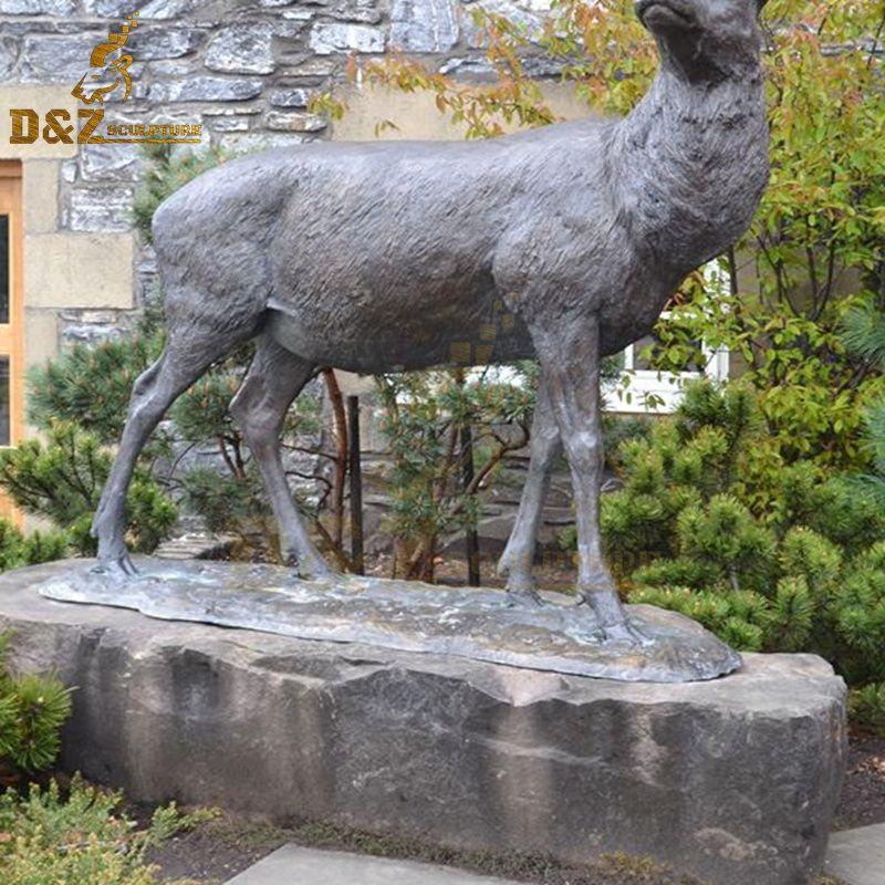 life size brass deer statue