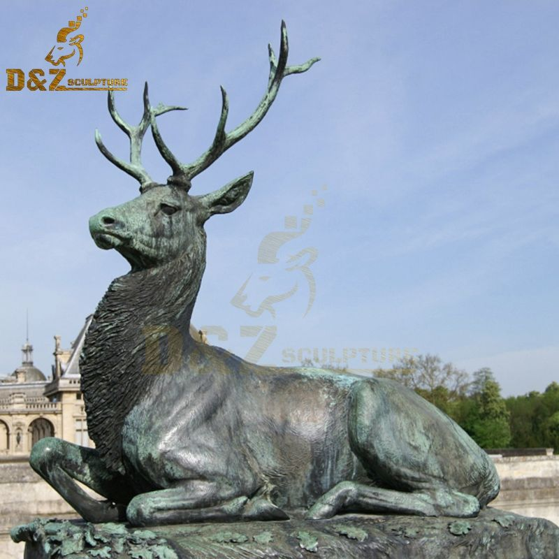 High-quality good price outdoor large lying bronze deer statue