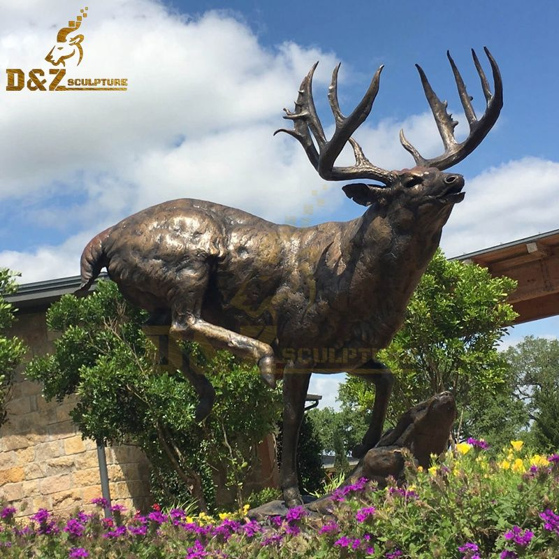 New design standing bronze life-size reindeer statue for sale