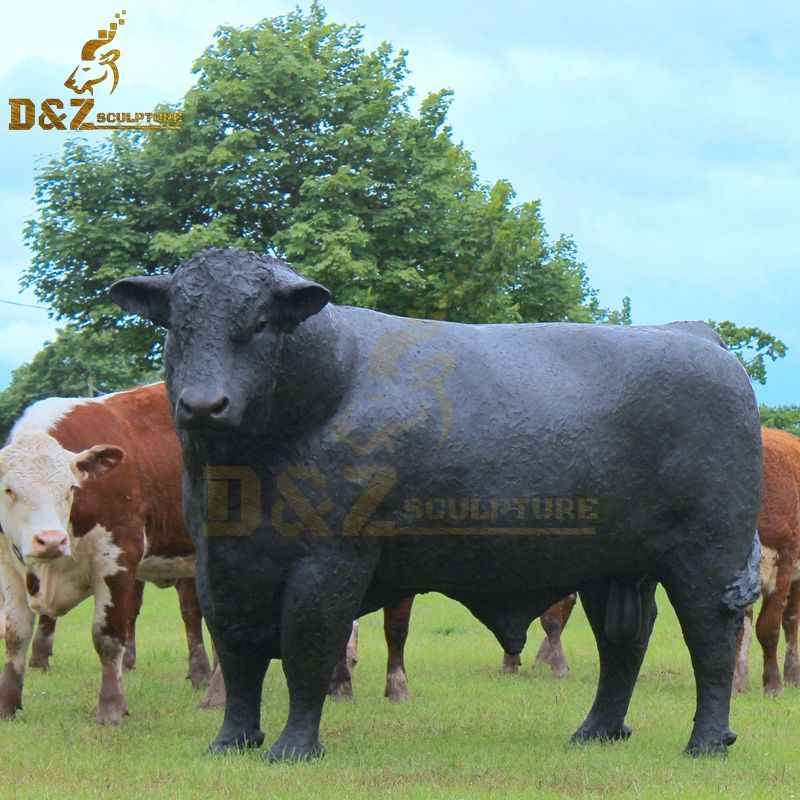 New black life-size bronze Angus angus cattle sculpture for sale