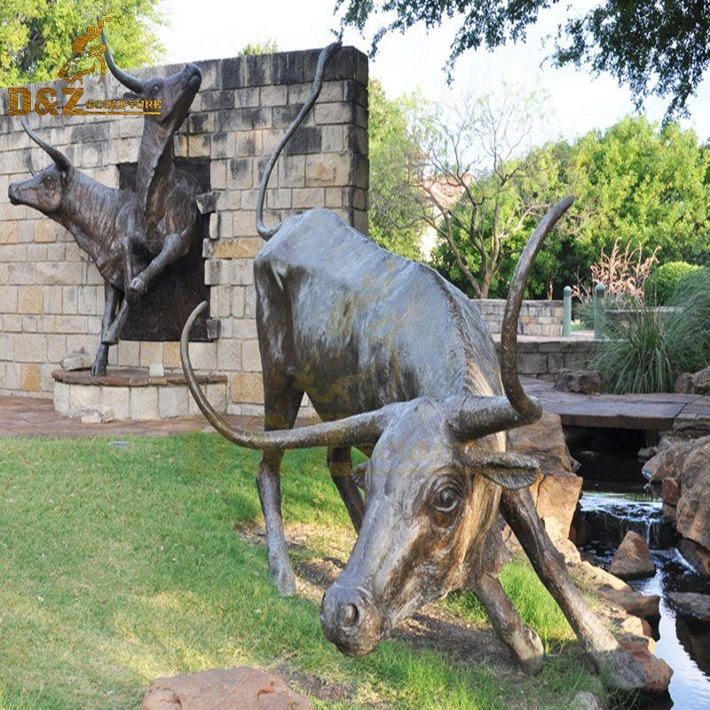 Modern popular art garden decoration longhorn bronze sculpture