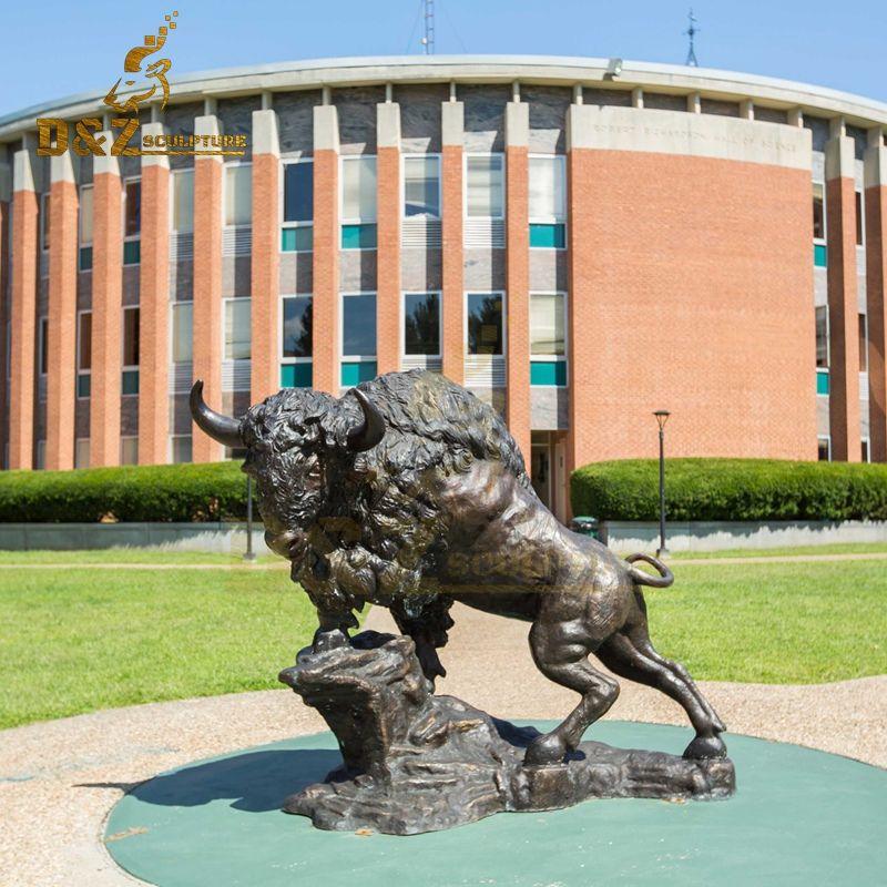 Newly designed custom life-size bronze bison sculpture for sale
