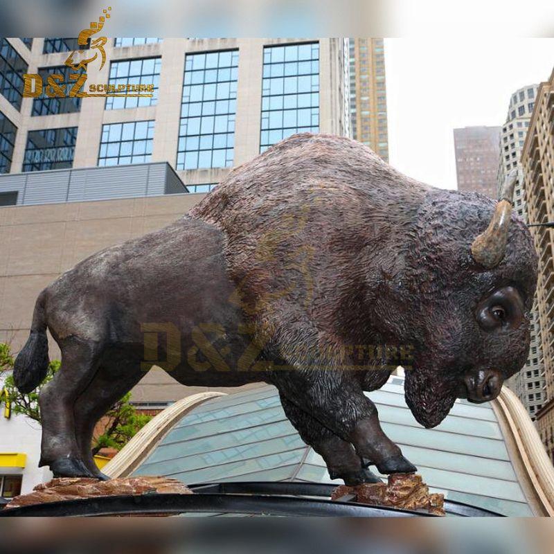 Large metal bull sculpture bronze bison garden sculpture for sale