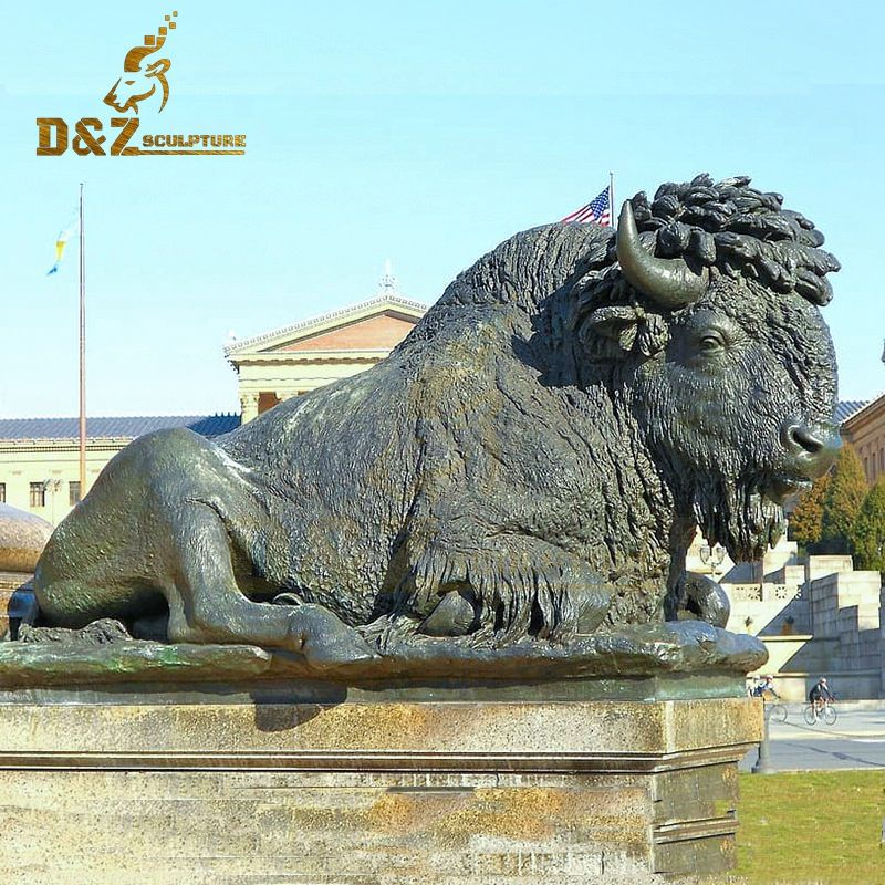 Hot sale custom metal animal bronze bison sculpture artwork