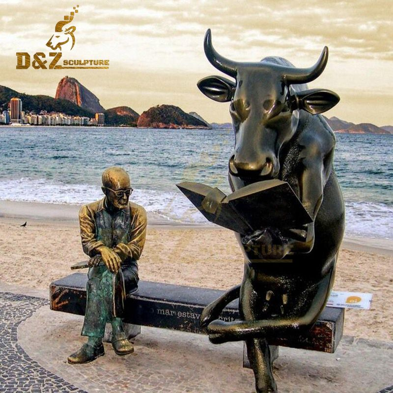 New Desgin Garden Decoration Bronze Bull Reading Book Sitting With Old Man