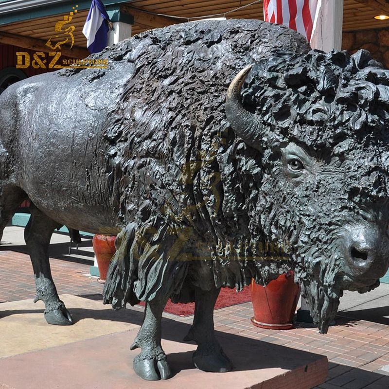 Western design high quality bronze bison sculpture garden decoration for sale