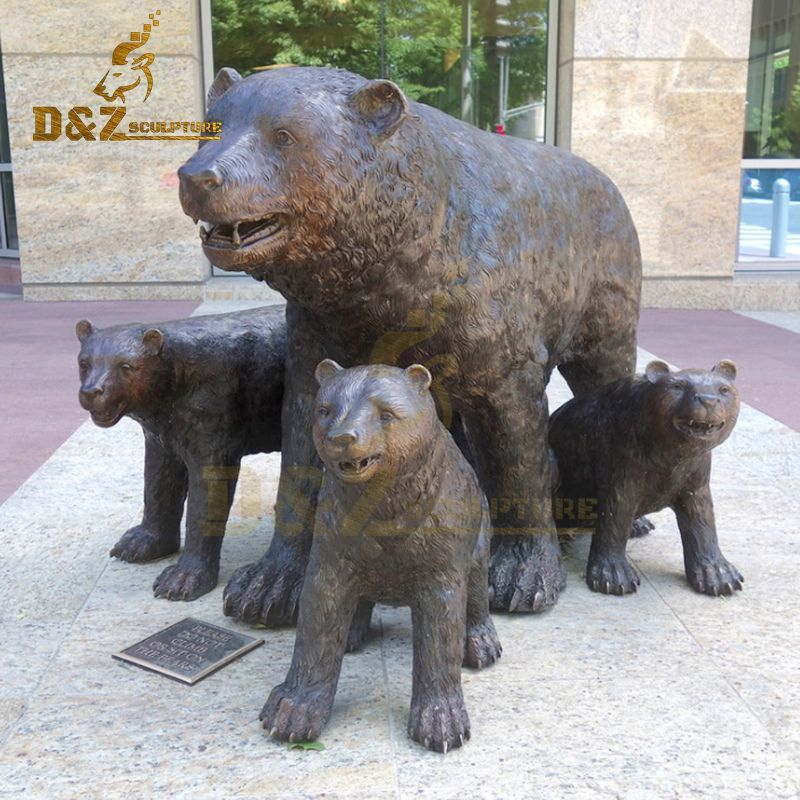 Hot Selling Life Size Bronze Metal Bear Family Statues For Decoration